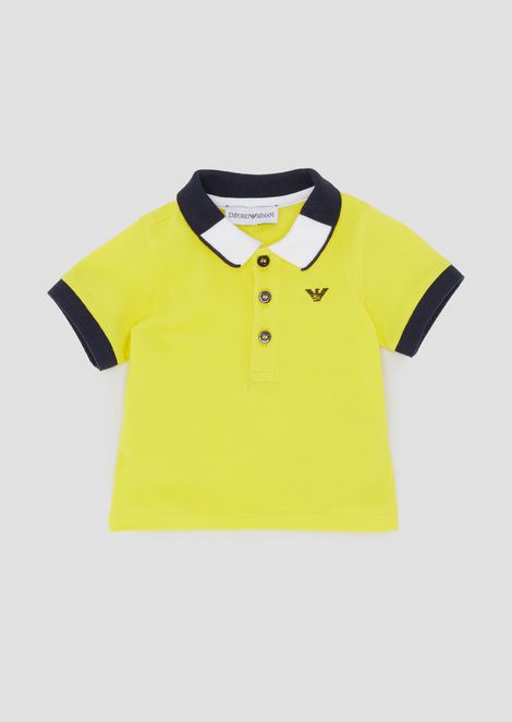 Cotton piqué polo shirt with two-colour collar