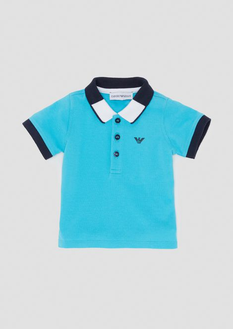 Cotton piqué polo shirt with two-tone collar