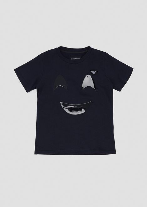 Jersey T-shirt with vinyl smiley-face appliqué