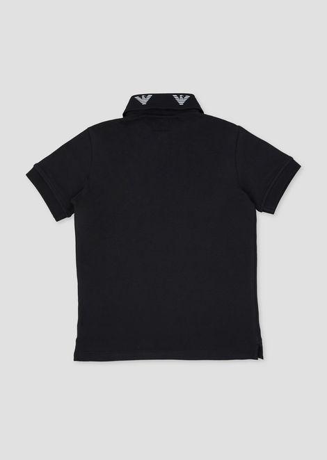 Piqué polo shirt with embroidered logos on the collar