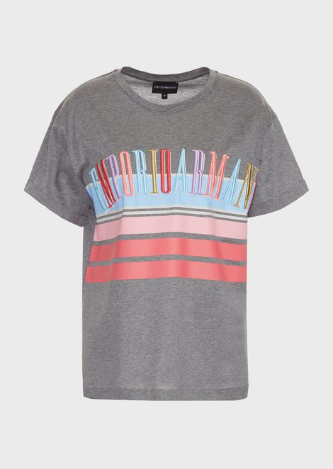 Jersey T-shirt in mercerized cotton with multicolor logo