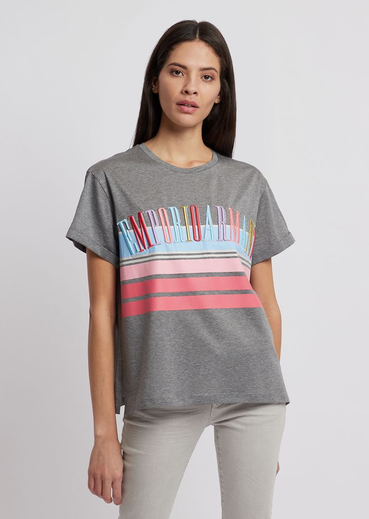 5949d4ad Jersey T-shirt in mercerized cotton with multicolor logo | Woman | Emporio  Armani