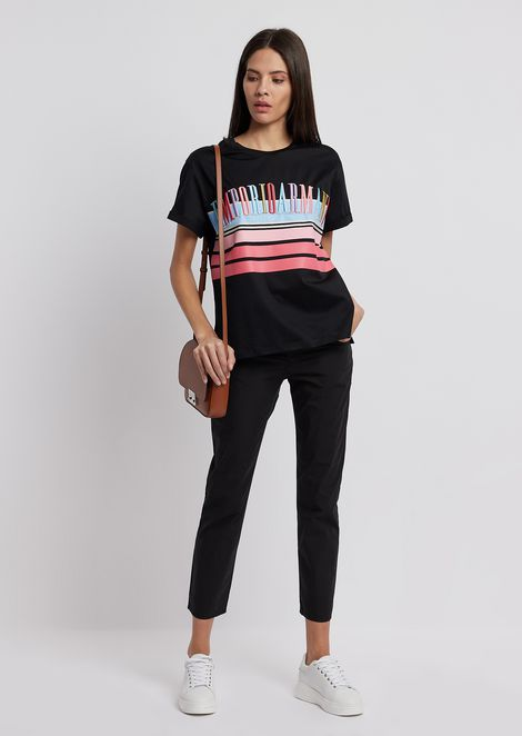 Jersey T-shirt in mercerised cotton with multicolour logo
