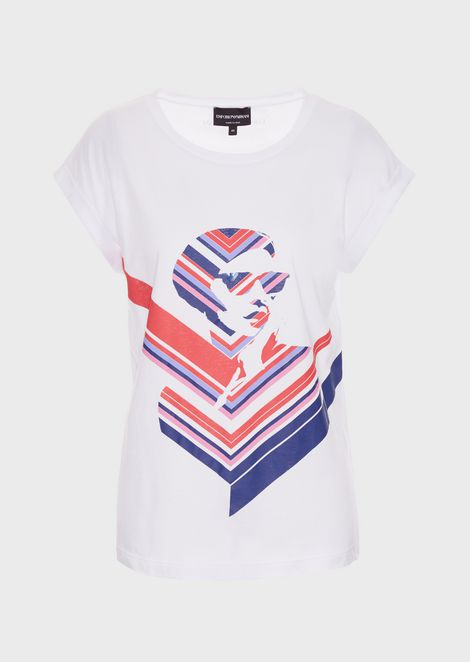 T-shirt in jersey con stampa pop