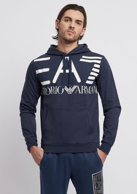 d9efd6cec18 Sweatshirt in pure cotton with EA7 maxi logo