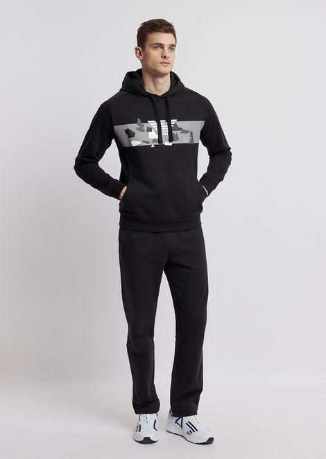 Hooded sweatshirt with camo print and logo
