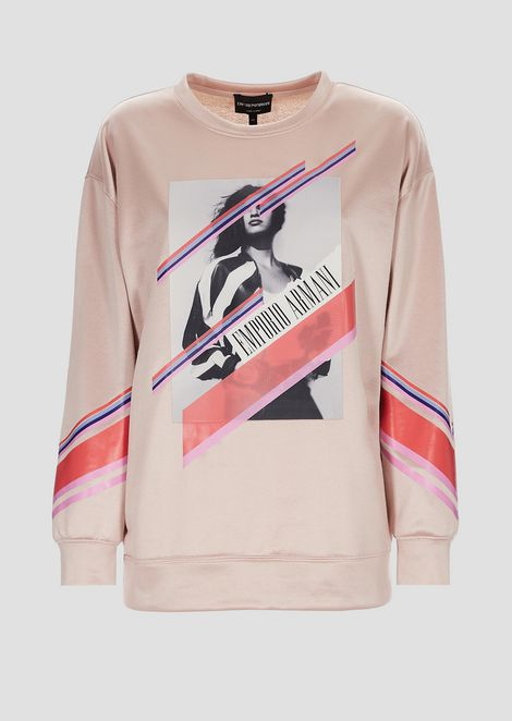 Sweatshirt in French terry with photographic print and pop colors