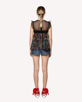 REDValentino Top en tulle avec broderie Love Celebration