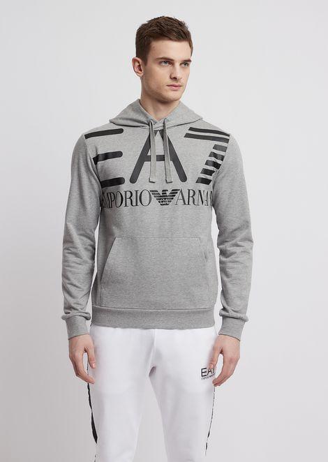 Sweatshirt in pure cotton with EA7 maxi logo