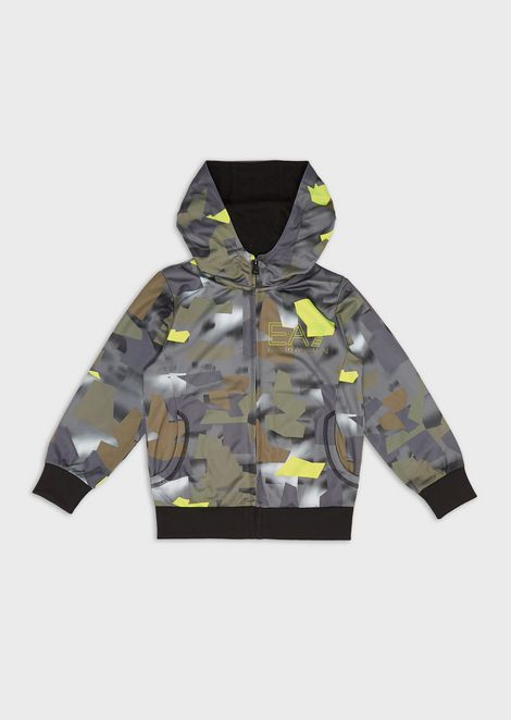 Boys' patterned sweatshirt with hood