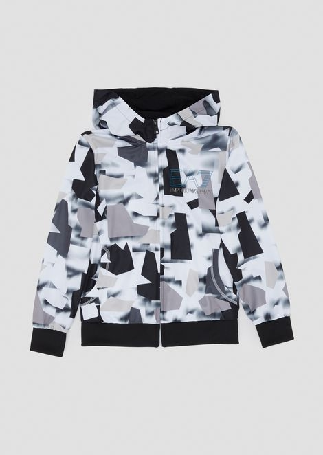 Boys' patterned sweatshirt with hood