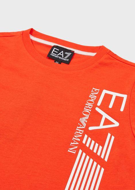 Boys' cotton T-shirt with EA7 logo