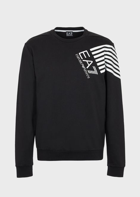 Sweatshirt in French terry with logo print and shoulder stripes