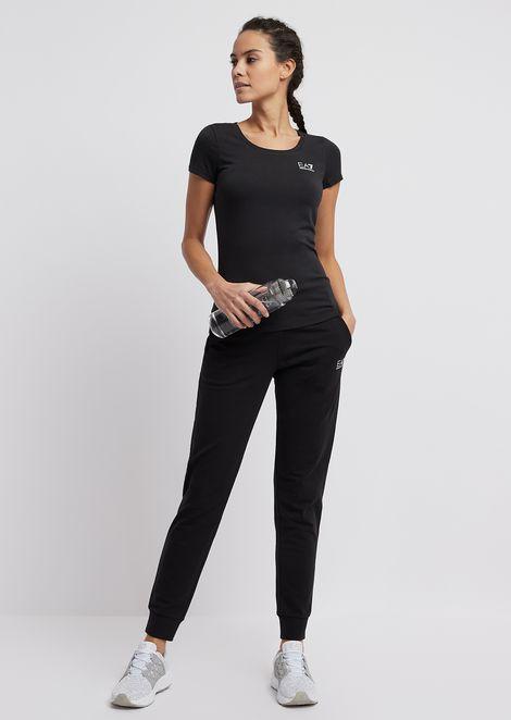 Tシャツ ストレッチコットン&モダール製 ラインストーン装飾