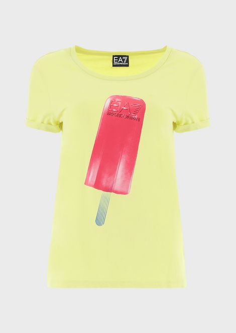 Stretch jersey T-shirt with ice-cream print
