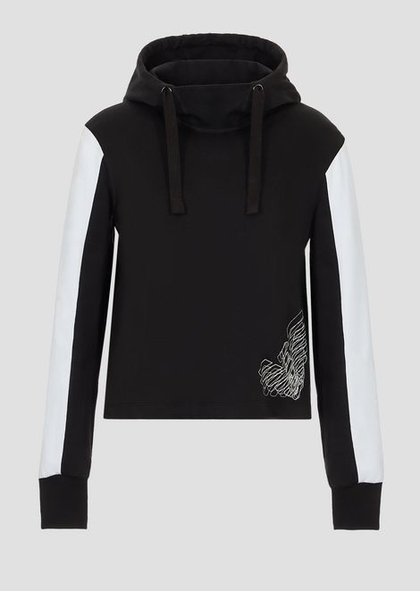 Two-colour, hooded sweatshirt and double logo