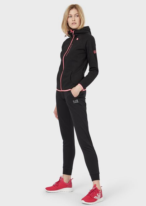 Full-zip sweatshirt with earphone hole and stretch logo band