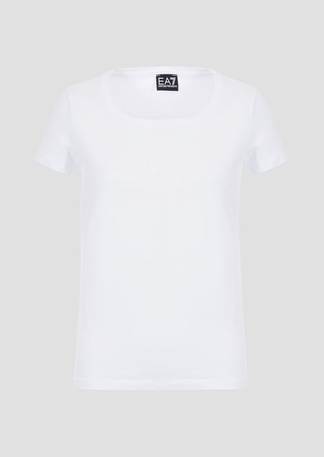 Stretch jersey T-shirt with tone-on-tone logo