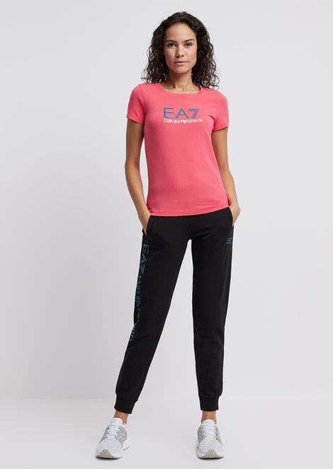 Cotton polyester T-shirt with EA8 logo print