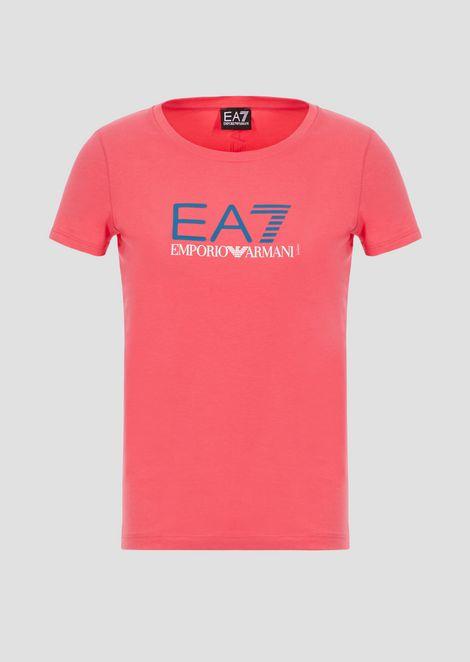 T-shirt in cotone poly con stampa logo EA8