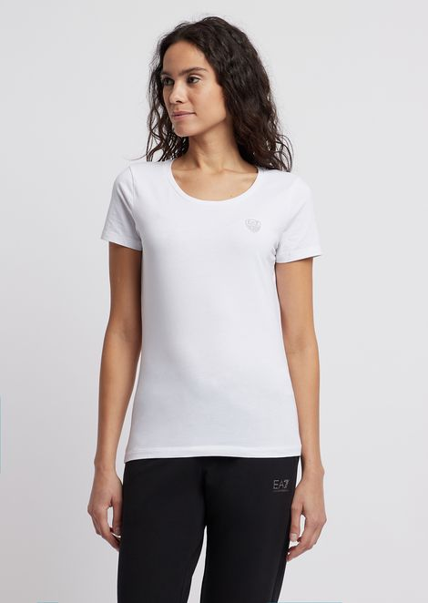 Stretch jersey T-shirt with EA7 shield