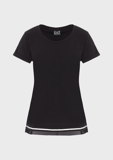 Stretch jersey T-shirt with contrast hem