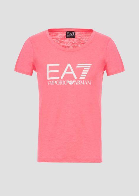 T-shirt in jersey fiammato con maxi-logo