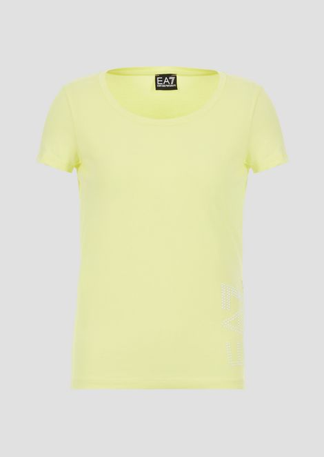 T-shirt in jersey stretch con logo
