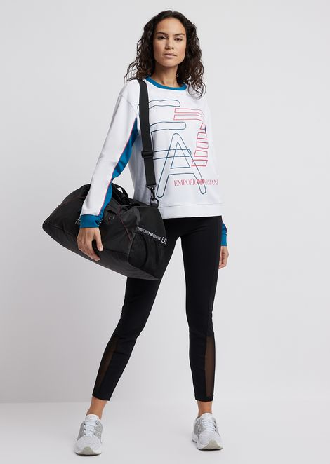 Cotton sweatshirt with maxi logo and neon details