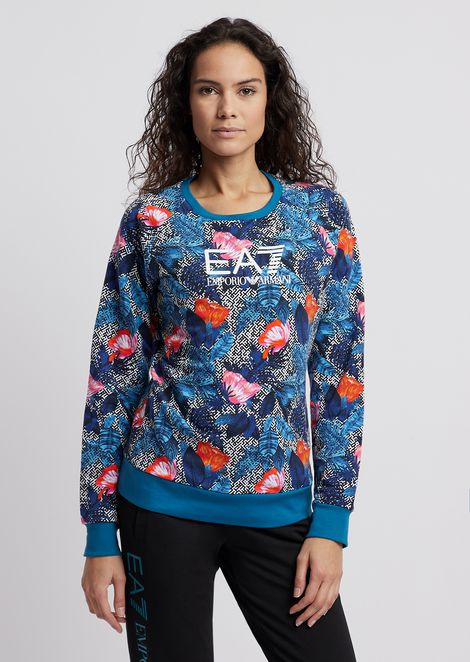 Felpa con motivo floreale e stampa logo EA7