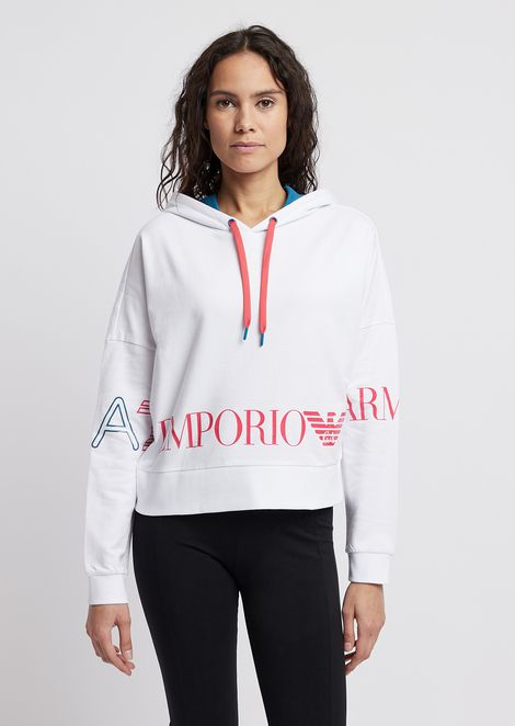 Cropped sweatshirt with hood and maxi-logo