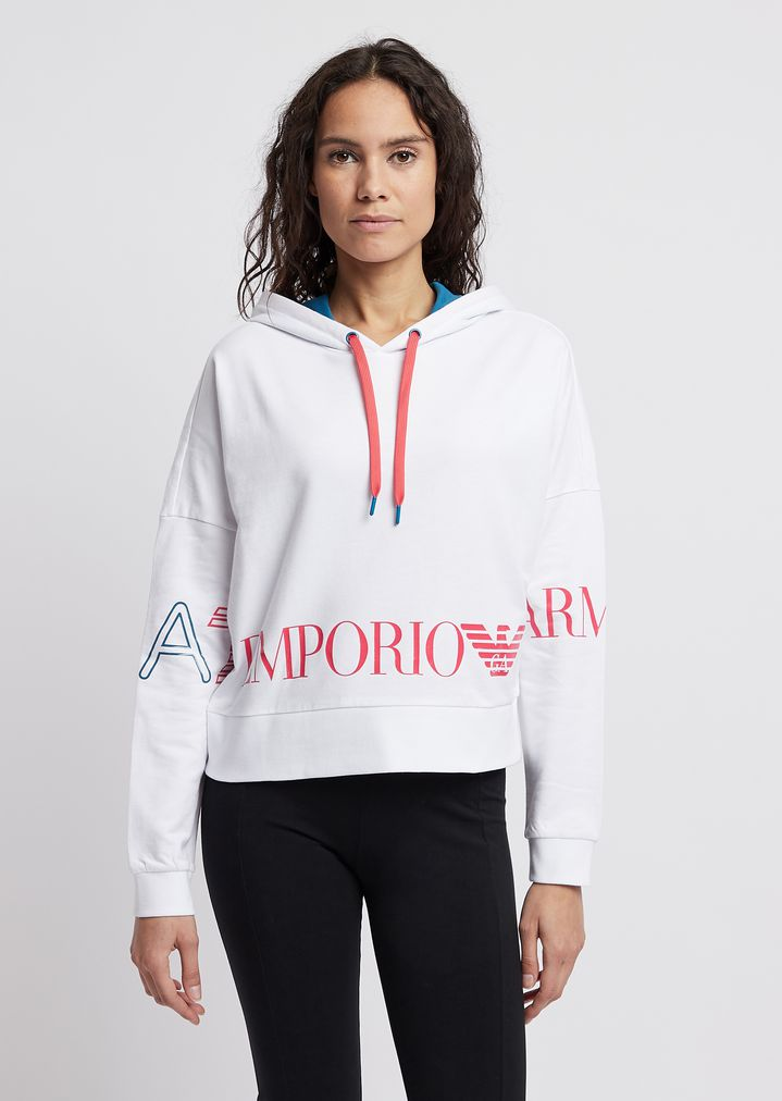 6529c8efb2 Cropped sweatshirt with hood and maxi-logo | Woman | Ea7