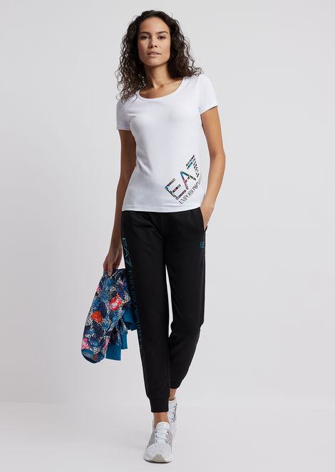 Stretch jersey T-shirt with maxi-logo on the side