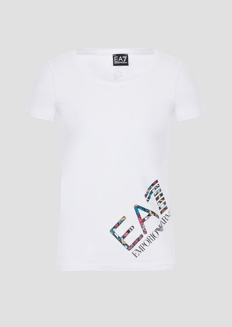 Stretch jersey T-shirt with maxi logo on the side