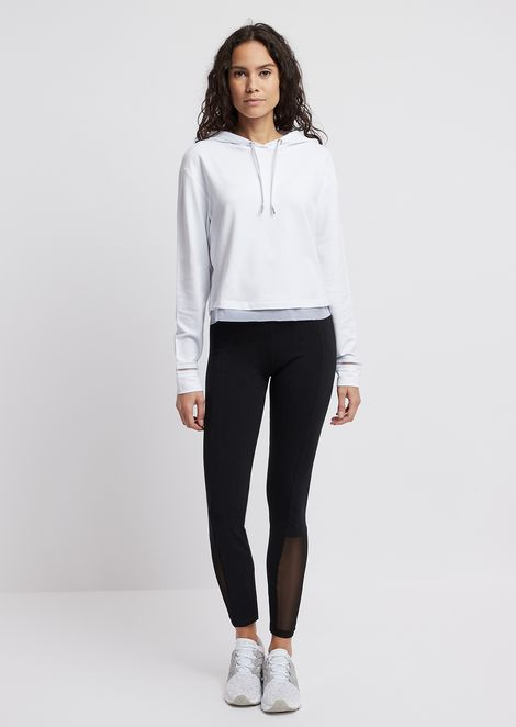 Hooded stretch cotton sweatshirt with breathable details