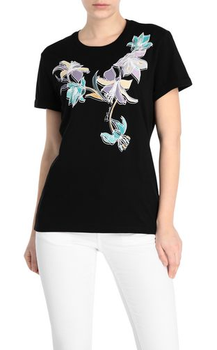 JUST CAVALLI Short sleeve t-shirt Woman T-shirt with leopard logo f