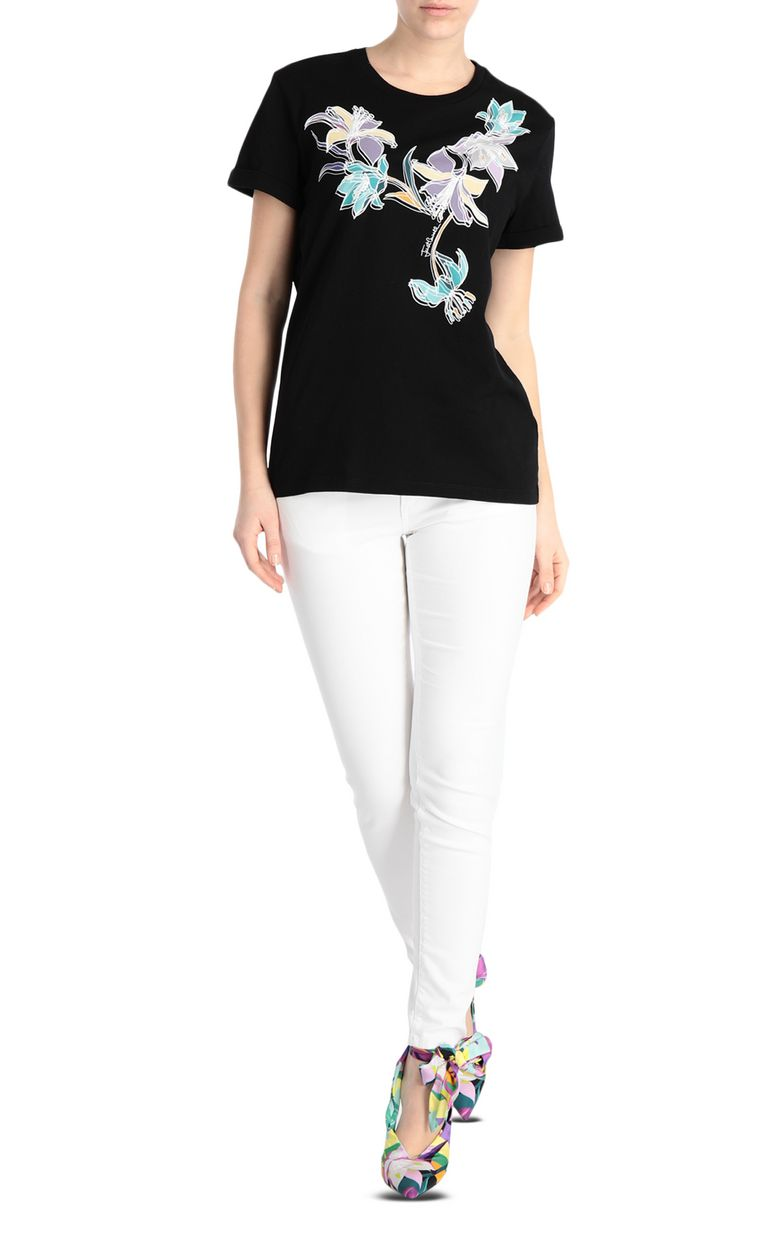 JUST CAVALLI T-shirt with floral print Short sleeve t-shirt Woman d