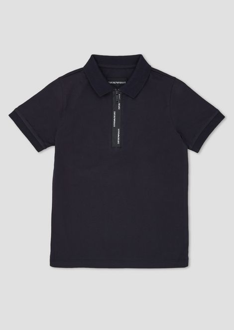 Cotton polo shirt with taped zip