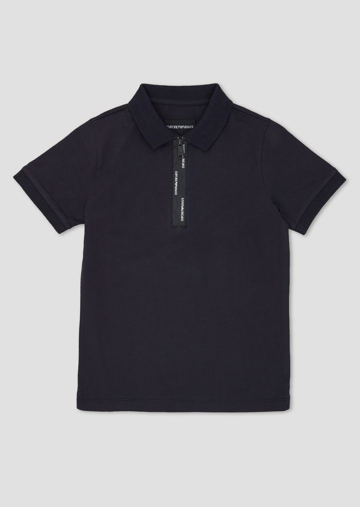 349bdd43 Cotton polo shirt with taped zip