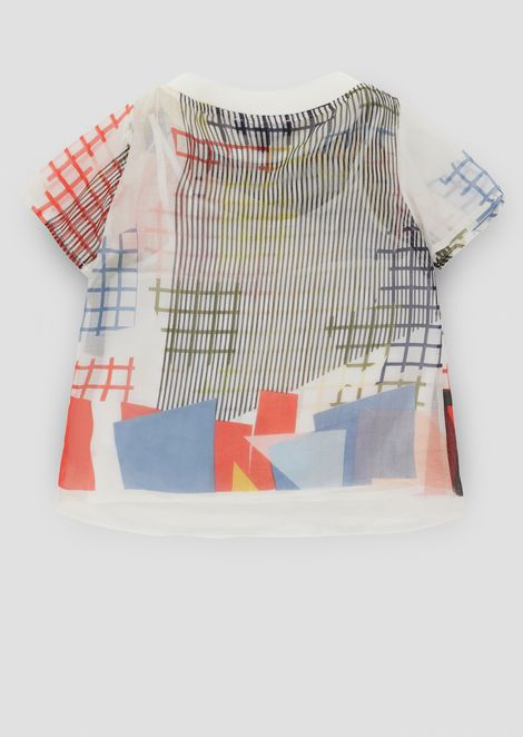 Voile cotton T-shirt with geometric prints