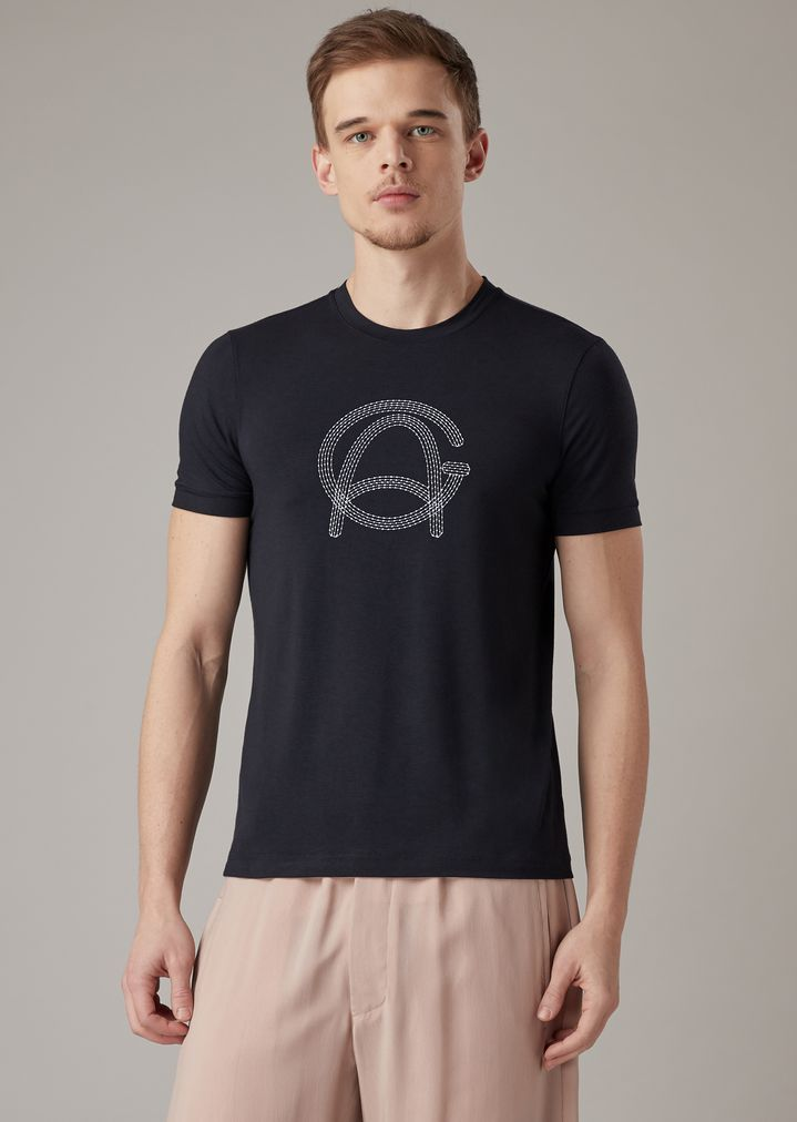 9fe0dedb58 T-shirt in stretch viscose jersey with stitch-effect logo