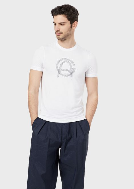 T-shirt in stretch viscose jersey with stitch-effect logo