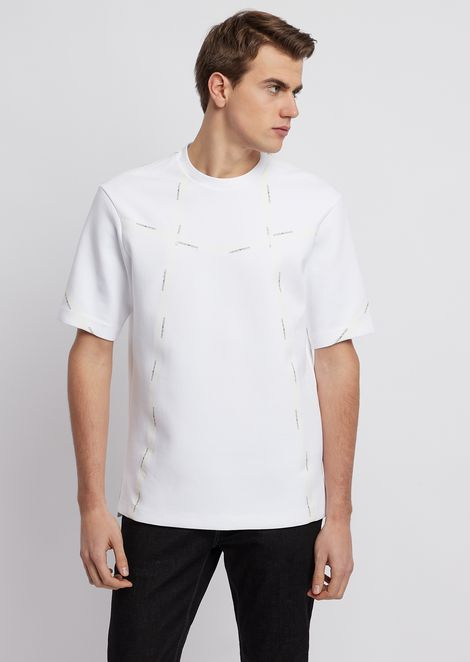 Lyocell cotton piqué T-shirt with logo bands on the back