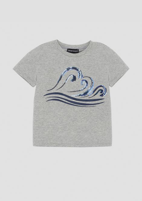 T-shirt in jersey con stampa Blue Waves con paillettes