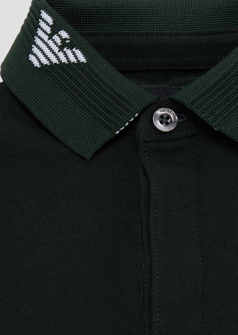 Piqué polo shirt with embroidered logos on the collar