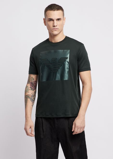 Cotton interlock jersey T-shirt with logo print