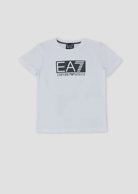 Boys' cotton T-shirt with EA7 logo