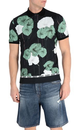 JUST CAVALLI Polo shirt Man Flamingo-flower-print polo shirt f