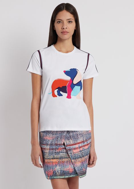 T-shirt We love Dogs con ricamo colorato