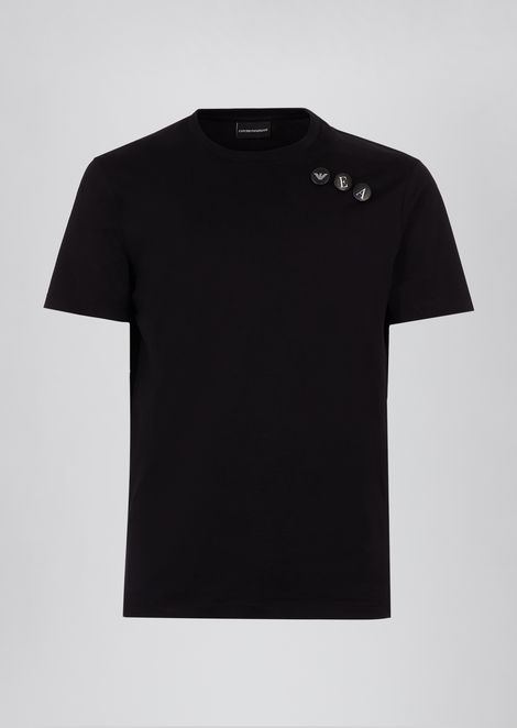 Mercerized jersey cotton T-shirt with logo pins